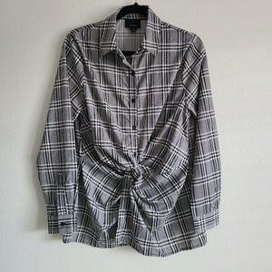 Lumiere Black/white twisted Knot Plaid Button Up